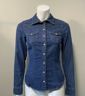 H&M Blue Denim Button Up Shirt Size 2