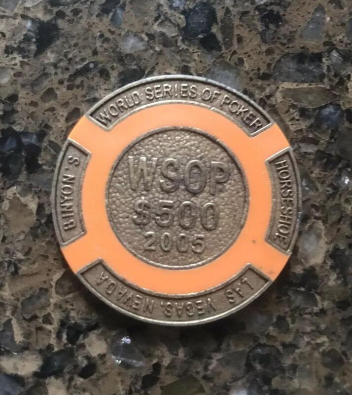 $500 Orange Wsop 2005 Brass Poker Chip / Card Guard / Golf Ball Marker