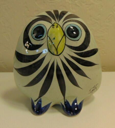 Mexican Tonala Pottery Owl Bird Figurine Hand Painted Folk Art Flowers