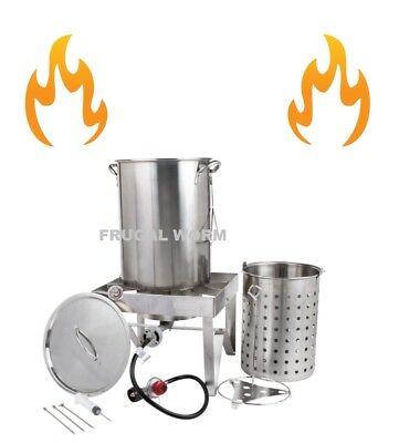 Backyard Pro Stainless Steel 30 Qt Turkey Fryer Kit / Steamer Kit 55,000 BTU