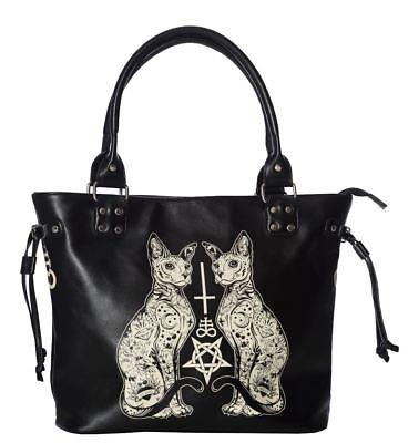 Banned Apparel Egyptian Sphynx Cat Kitty Black Handbag
