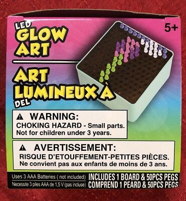 MINI LED GLOW ART LIGHTBOX AND PEGS -BATTERY Powered For Travel