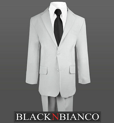 Gray Suits For Boys (Light Grey Boys Suit with a Black Long Neck Tie Formal Wear for Kids of All)