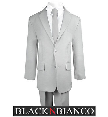 Light Grey Boys Suit (Boys Light Gray Suit with Tie Shirt Vest and Pants Kids of All Sizes Ring)