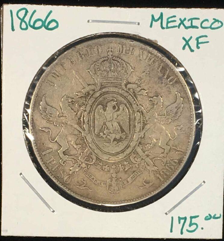 1866 Mexico Maxamilion Emperor Peso XF