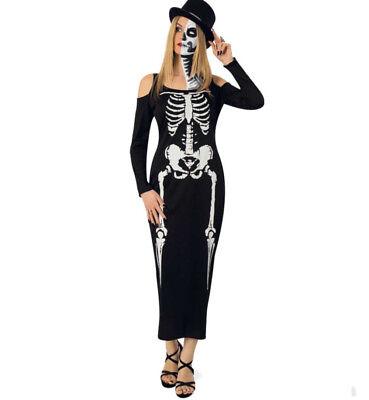 KarnevalsTeufel Damenkostüm Skelett Kleid Schwarz 2. Wahl Gerippe 121074413 ()