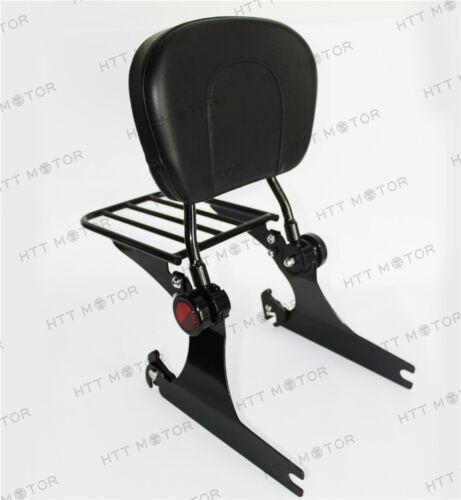 Adjustable Backrest Sissy Bar w/ Luggage rack For Harley Dyna 02-05 Black