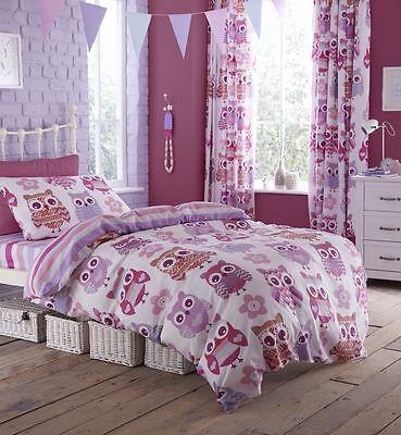 Bettwäsche Vorhänge (Eulen Mädchen Bettbezug Bett Bettwäsche Set einzelne oder doppelte Vorhänge NEU)
