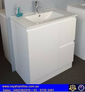 Bathroom Vanity Gloss White Ceramic Top 750 mm Ferntree Gully Knox Area Preview