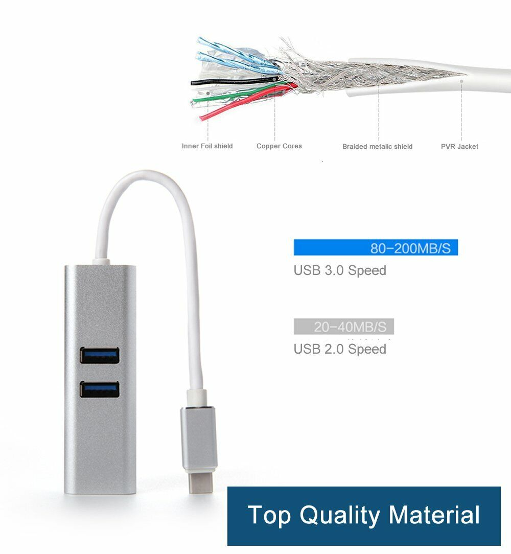 USB-C 3.1 To 2x USB Hub Aluminum Type-C With Power Pass Through For Macbook