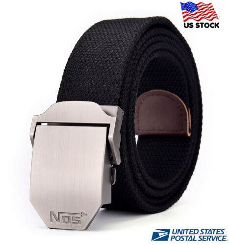 Mens Womens Ladies Automatic Buckl Thick Canvas Casual  Belts Free Size Us Stock