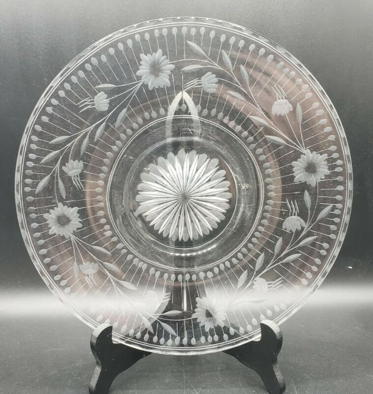 """Vintage 10-1/2"""" Clear Glass Floral Needle Etched Serving Plate"""