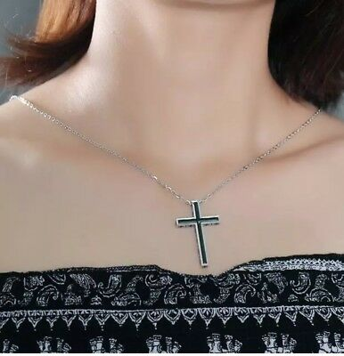 - Titanium Steel Rolo Chain Crucifix  Cross Pendant Necklace for Womem