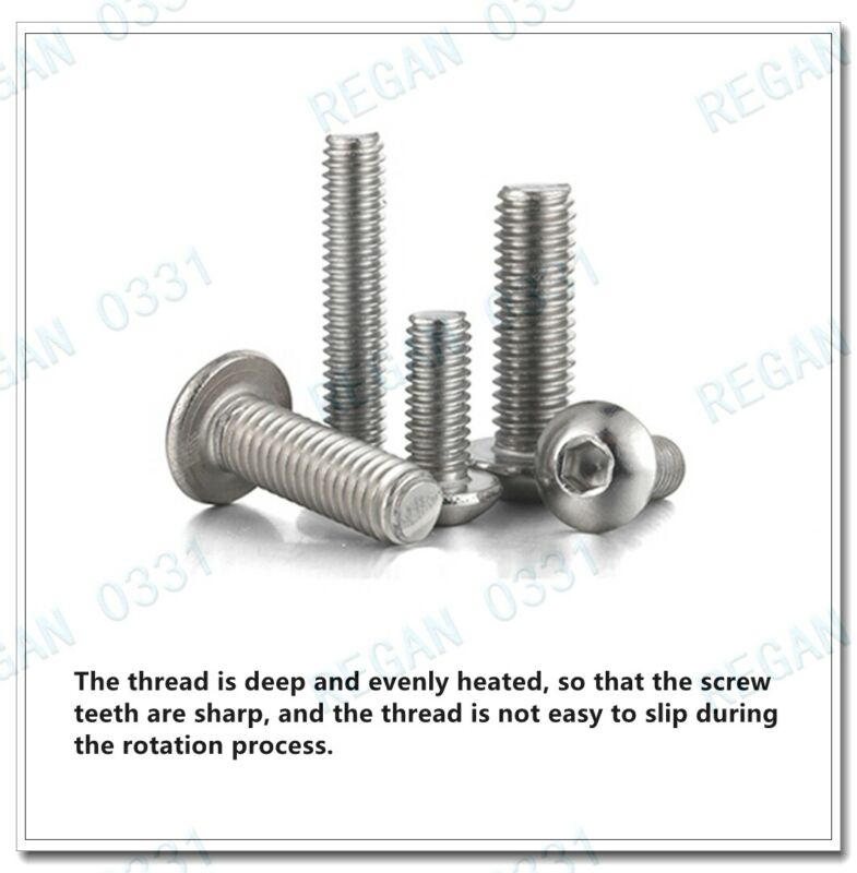 M4/ M5/ M6/ M8 Stainless Steel Allen Hex Socket Button Head Screws Bolt ISO7380