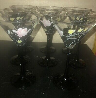 Set Of 8 Martini Glasses 6 1/2 Inches Black Stem With Pink Yellow Black Flowers](Black Martini Glasses)