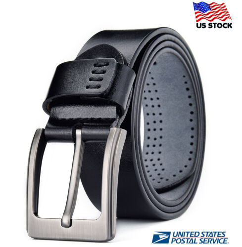 100% Genuine Mens Leather Belts Pin Buckle Trouser Sizes Black Jeans Us Stock