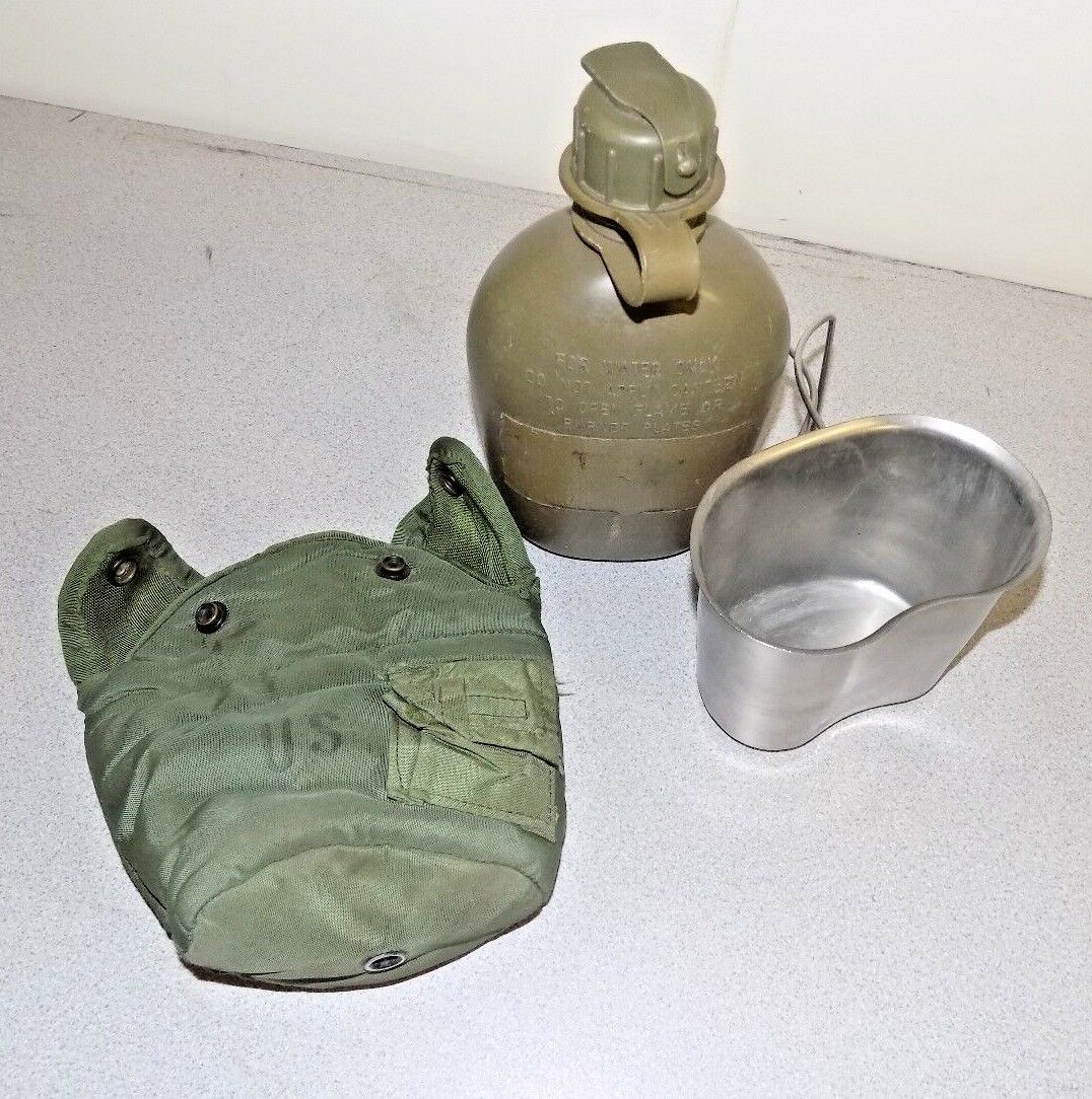 NEW Military Issue 1Qt Canteen /& 1Qt Cover OD Green W//Alice Clips Gas Mask Top