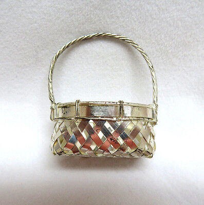 Vintage Miniature Silver Plated Metal Wire Basket