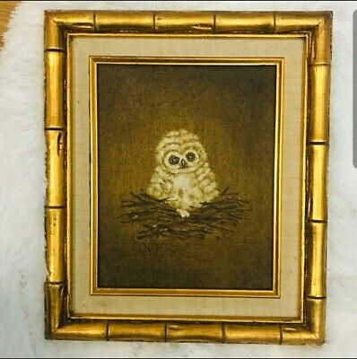 "Vintage Oil on Canvas Owl ""Afraid of the Dark"" Peggy Harris"