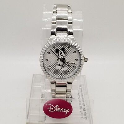 Mickey Mouse Wrist Watch - New Watch Disney Original Mickey Mouse Stainless Steel Silver-Tone MCKAQ1483