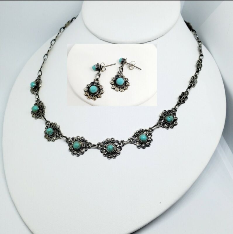 Taxco Mexican Turquoise Necklace and Earrings 925 Sterling Silver /FREE SHIPPING