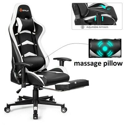 Gaming Chair Office Racing Footrest Recliner Massage Computer Seat Swivel Desk