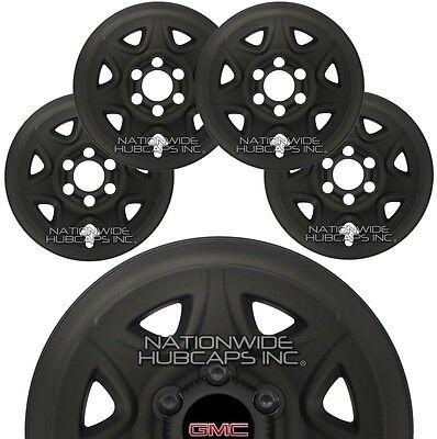 "4 Flat Black 2014-2017 GMC Sierra 1500 17"" Wheel Skins Hub Caps Full Rim Covers"