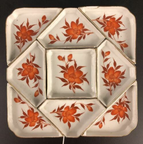 Chinese Iron-red Porcelain Nine Sons Plate 19th Century (19世纪矾红描金九子攒盘)