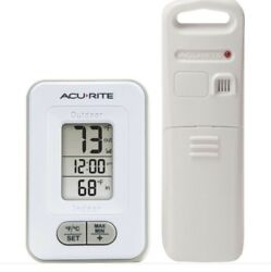 AcuRite Wireless Indoor/Outdoor Weather Thermometer Clock Digital Temperature