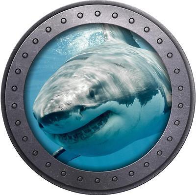 Ocean Room Decor (Shark #3 Porthole 3D Window Wall Decal Vinyl Sticker Ocean Sea Kids Room)
