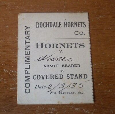 1935 - Rochdale H. v Widnes, Complimentary Ticket (4.75cm width / 6cm length).