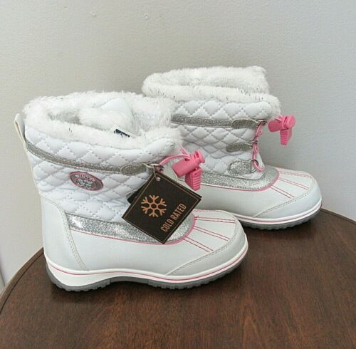 NEW KIDS TODDLER GIRLS KHOMBU GLITZ WINTER SNOW BOOTS SIZE 10 WHITE