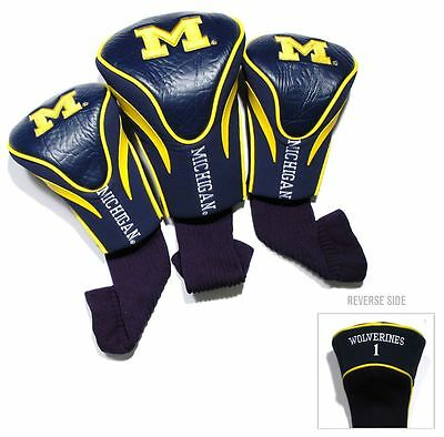 Michigan Wolverines Golf Club 3 Piece Headcover Set [NEW] NCAA Head Cover - Michigan Wolverines Golf Club Headcover