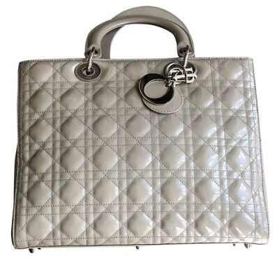 dior lady dior bag, Grey Patent, Worn Once Auth, minor damage, auth card (Dior Purse Price)