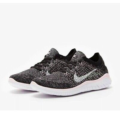 Nike Free RN Flyknit 2018 Womens Ladies Trainers Uk Size 7.5 Black Pink Genuine