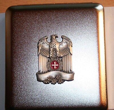 Zigaretten Etui  Reichsadler Banner Eichenlaub   Emblem  Metall  NEU