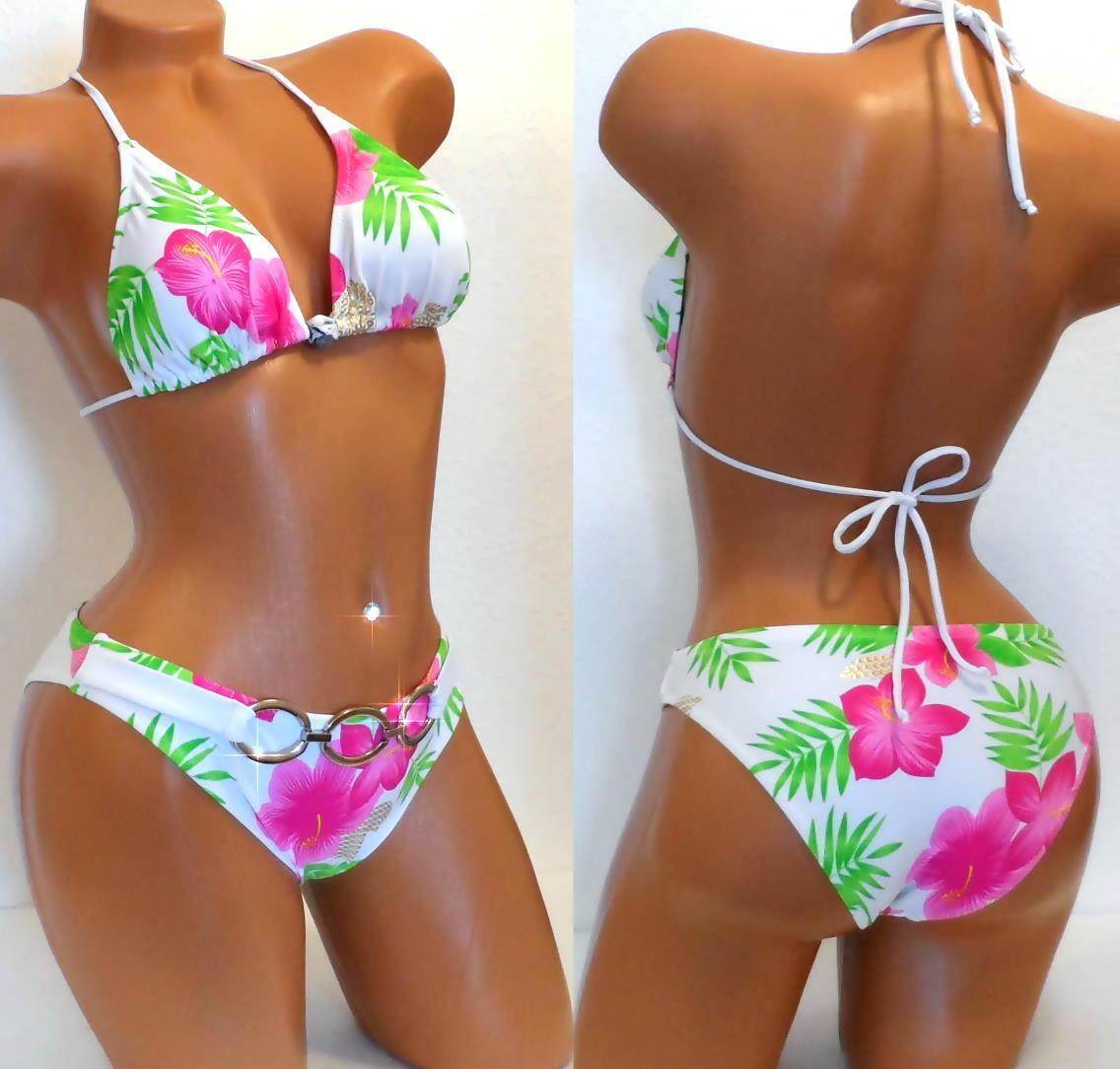 BIKINI Weiß Blumen Triangel Neckholder Badeanzug Sexy XS  34