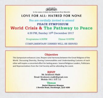 DINNER: World Crisis and the Pathway to Peace