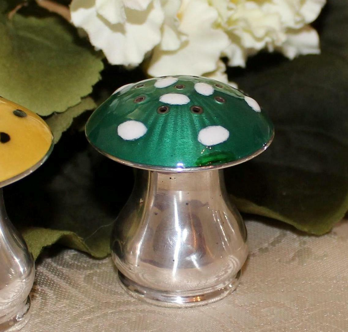 Scandinavian Sterling Mushroom Salt Shaker Chipped Enamel 2 Adorable To Scrap - $20.00