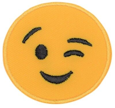 Emoji Smile and Wink with Tongue Patch (Iron on) (Emoji Wink)