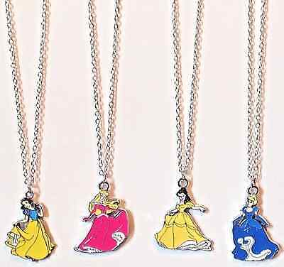 New 4pcs Girl's Disney Princess Pendant Charm Necklaces Kid's Jewelry