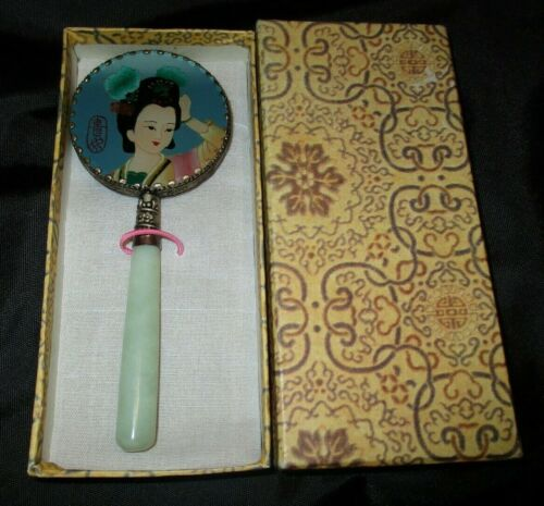 Vintage Japanese Lady Small Hand Mirror w/ Jadite Jade Handle