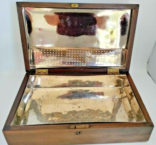 Stunning Antique silver Tin Lined Mahogany Tobacco Cigar Humidor Box