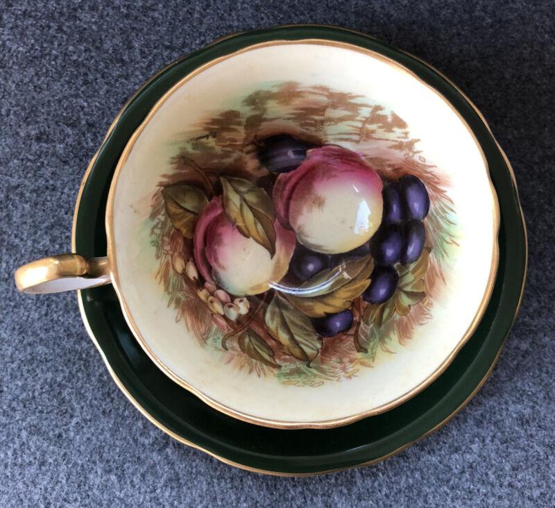 Vintage Aynsley Dark FOREST Green Orchard Fruit Teacup & Saucer Signed D Jones