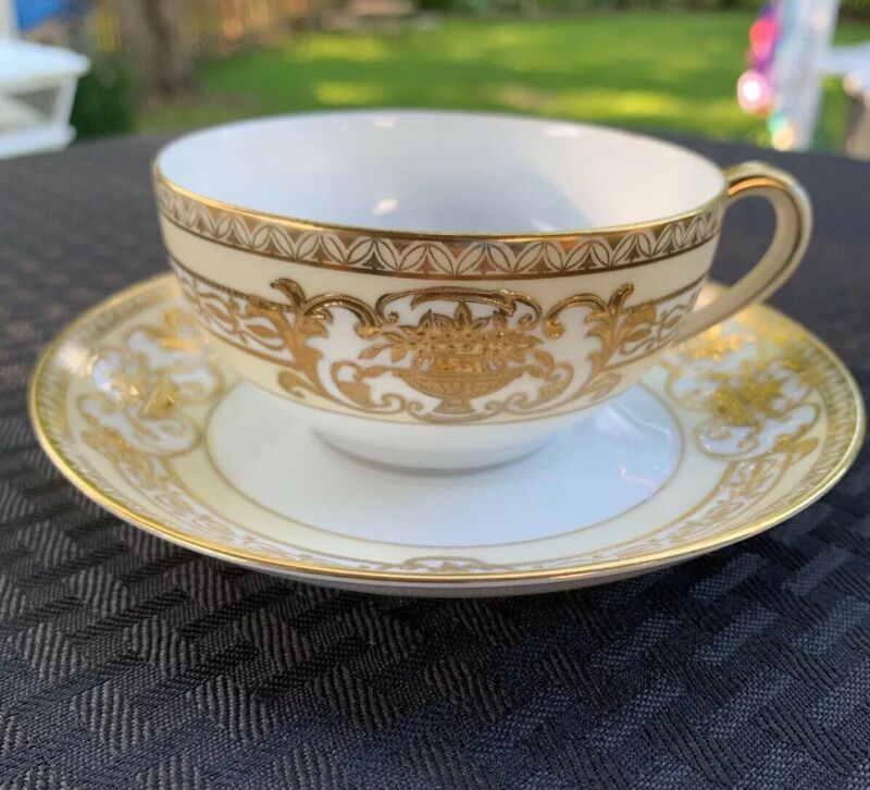 Noritake Bouillion Cup And Saucer. Beautiful GOLD ACCENTS! 37532 MINT CONDITION!