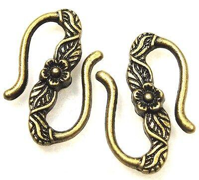 """50Pcs. WHOLESALE Tibetan Antique Bronze Flower """"S"""" Clasps Hooks Connectors Q0364"""