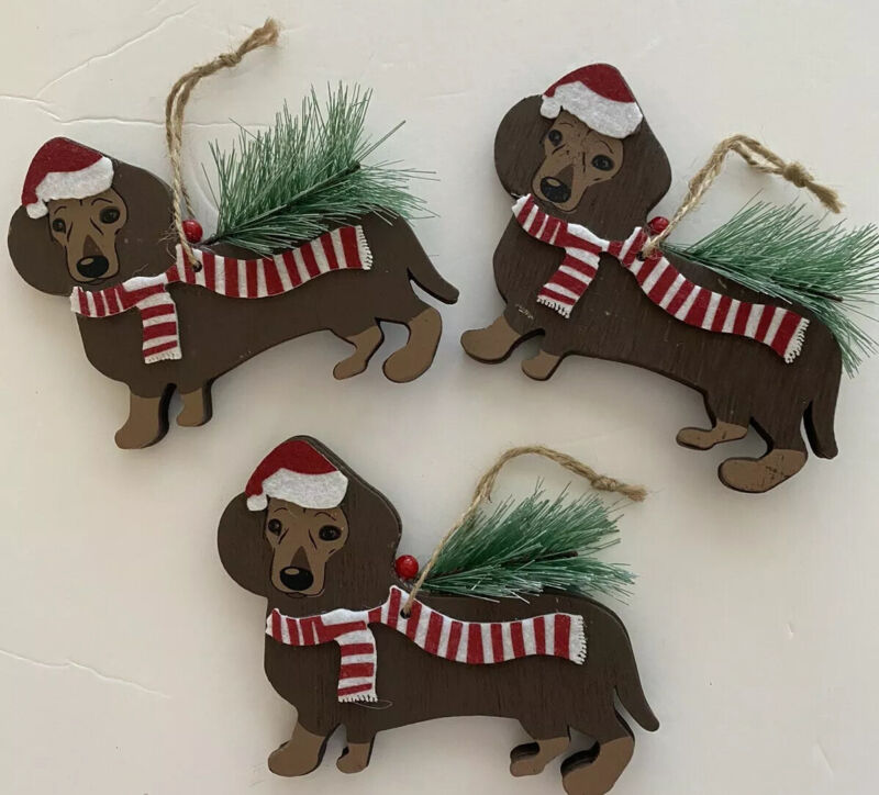 NEW Set Of 3 Dachshund Christmas Ornaments Red Wood Brown Large Santa Black Tan