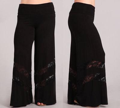 Plus Black Lace Inset Wide Leg Palazzo Pants Foldover High Waist
