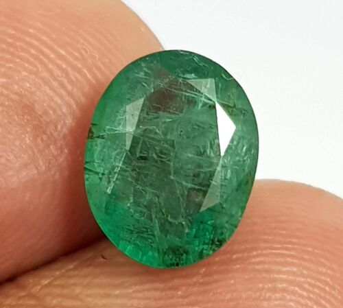 2.49 Ct Natural Top Luster Green Zambian Emerald Oval Cut Gems Untreated Quality