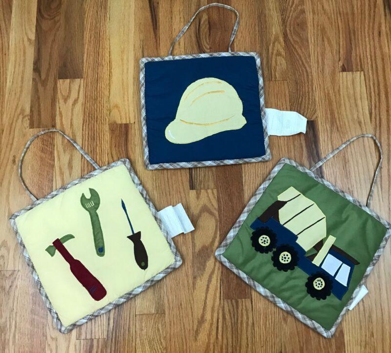 Baby Boy Nursery Plush Wall Decor Construction Truck Helmet Pictures AQ